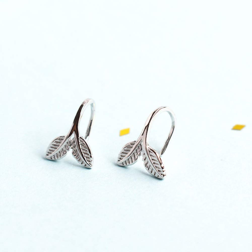 THTHT Sterling Silver Earrings Womens Simple Fish Tail Temperament Cute Exquisite Creative Fashion Vintage Jewelry