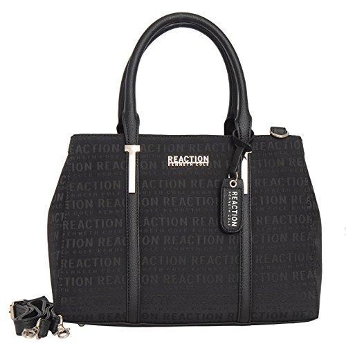 Kenneth Cole Reaction KN1860 Triple Entry Harriet Satchel Handbag (BLACK JACQUARD)