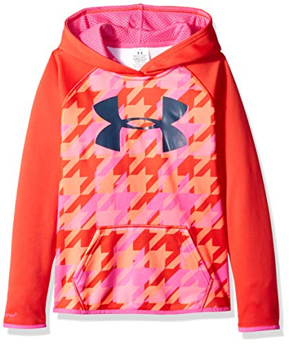 Under Armour Women's Armour Fleece Printed Big Logo Hoodie, Pomegranate /Mechanic Blue, Youth Small