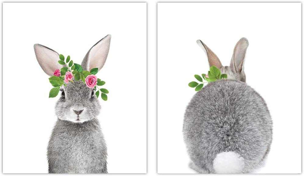 Baby Nursery Decor Wall Prints - Set of 2 Baby Bunny Front Back Floral Crown Photograph Print - Nursery Art, Baby Nursery Decor, Boy Girl Room Wall Art (Option 2)