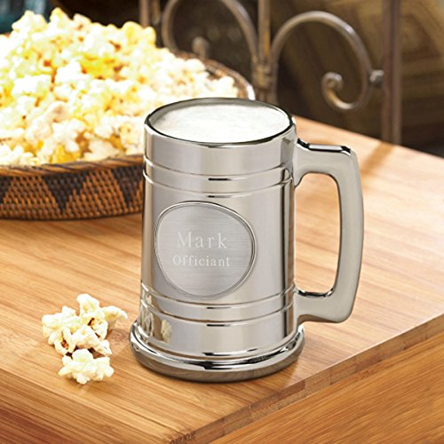 Personalized Pewter Medallion Glass (Personalized Metallic Gunmetal Beer Mug - Plain Medallion - Personalized Beer Mug)