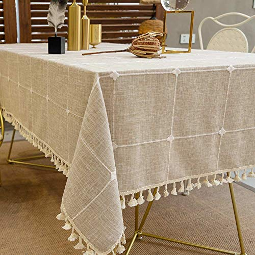 Deep Dream Tablecloths, Embroidered Checkered Table Cloth Cotton Linen Wrinkle Free Anti-Fading Table Cover Decoration for Kitchen Dinning Party, 55 x 86 Inch - Light Brown