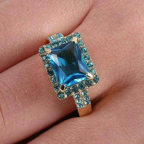 888 Easy Shop Size 8 Jewelry Top Aquamarine Amethyst Gems Ring Womens 10K Yellow Gold Filled 8