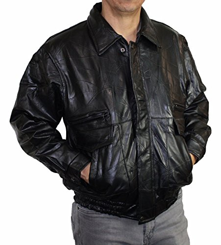 Men's Genuine Pig napa Suede Leather Front Zipper Closure Classic bmomber Jacket - 2X Large