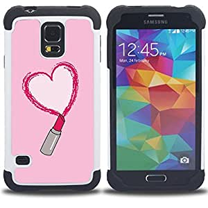- lipstick red love heart pink kiss - - Doble capa caja de la armadura Defender FOR Samsung Galaxy S5 I9600 G9009 G9008V RetroCandy