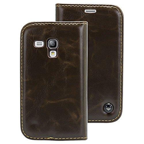 Samsung Galaxy S3 mini braun Mobilefox Luxus Tasche Geldbeutel Schutz Hülle Case Etui Bumper Schale Cover