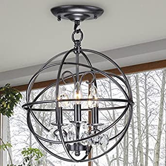 Benita 3 light antique black metal globe crystal flush mount benita 3 light antique black metal globe crystal flush mount chandelier aloadofball Gallery
