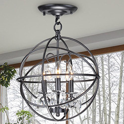 Jojospring Benita 3-light Antique Globe Crystal Flush Mount Chandelier