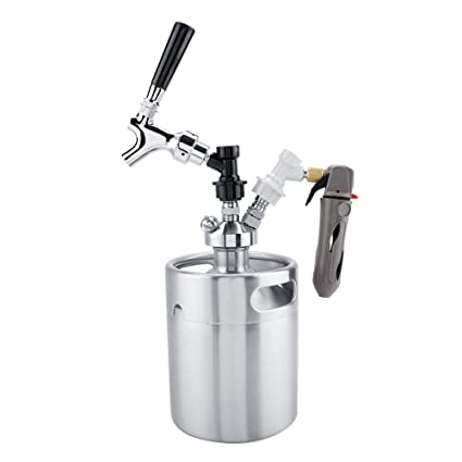 TOPINCN Mini Dispensador de Cerveza Set 2L Barril de Acero Inoxidable Portátil con Grifo Grifo Presurizado