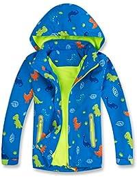 Girls Boys Rain Jacket Dinosaur Waterproof Hooded Raincoats Windbreakers for Kids Coat (Blue,8/9)