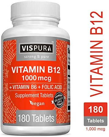 Vitamin B12 1000 mcg Methylcobalamin + B6/Folic Acid = Best Supplement to Increase Energy, Enhance Mood, Sharpen Focus and Boost Metabolism*, Vegan and Best Bioavailability, 180 Tablets
