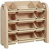 ECR4Kids 4-Tier Toy Storage Organizer for Kids, Sand with 12 Sand Color Bins