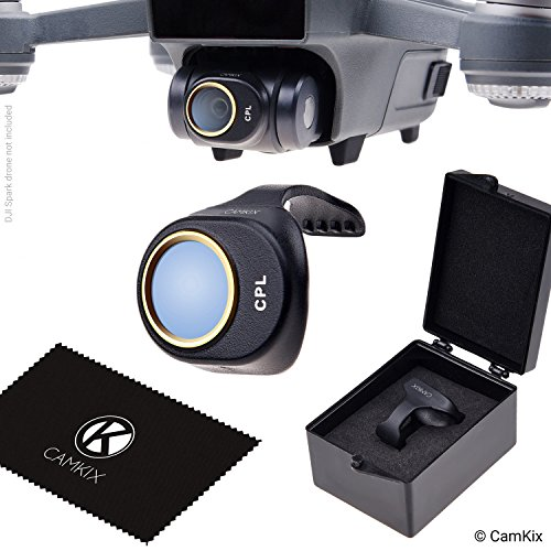 CamKix PL Filter Compatible with DJI Spark - Includes a CamKix Polarizing Filter (PL), a Filter Storage Box and a CamKix Cleaning Cloth - Prevents Reflections in Water/Glass