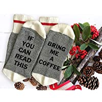 If You Can Read This, Bring Me a Coffee - Christmas Gift, Funny Thermal Socks With Sayings, For Her, Him