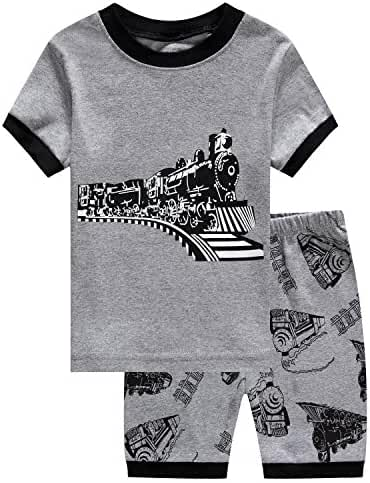 Family Feeling Little Boys Train 2 Piece Pajamas Shorts 100% Cotton 6M-8Years