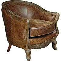 Pulaski P006206 Home Comfort Collection Traditional Tufted Leather Barrel Arm Accent Chair, Medium