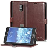 Vena® Samsung Galaxy Note Edge Case [vFolio] Vintage PU Flip Leather Wallet Stand Case Cover [Card Pockets] for Samsung Galaxy Note Edge (Brown/Black)