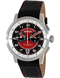 Ferrari Men's FE-11-ACC-CP-FC Black Leather Swiss Chronograph Watch with Red Dial