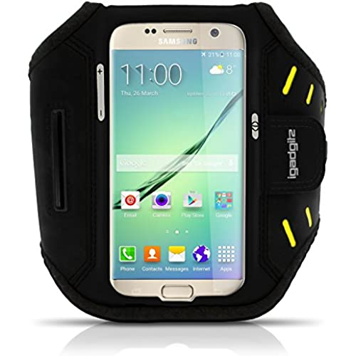 iGadgitz Black Water Resistant Lightweight Neoprene Sports Jogging Gym Armband for Samsung Galaxy S7 SM-G930 ( Sales