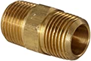"""Anderson Metals 56122 Brass Pipe Fitting, Hex Nipple, 3/8"""" x 3/8"""" NPT"""