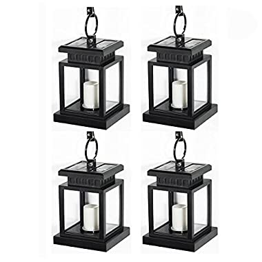 LED Solar Mission Lantern, LVJING 4 Pack Vintage Hanging Umbrella Lantern, Flameless Candle Light, Portable Clamp Lamp for Outdoor Garden Yard Lawn Patio Tent Pavilion Camping, Waterproof, Black
