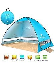 NOTENS Strandmuschel, Pop up Strandzelt Shelter für 2-4 Personen Portable Beach Zelt, Outdoor Tragbar Wurfzelt UV-Schutz, Strand Muschel Zelt für Familie BBQ Strand Garten Camping