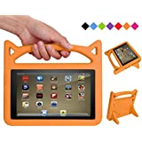 Fire 7 2017 Case - SHREBORN Kids Light Weight Shock Proof Protective Cover with Friendly Handle and Foldable Bracket for Kindle Fire 7 Tablet(Compatible with 7th Generation & 5th Generation) - Orange