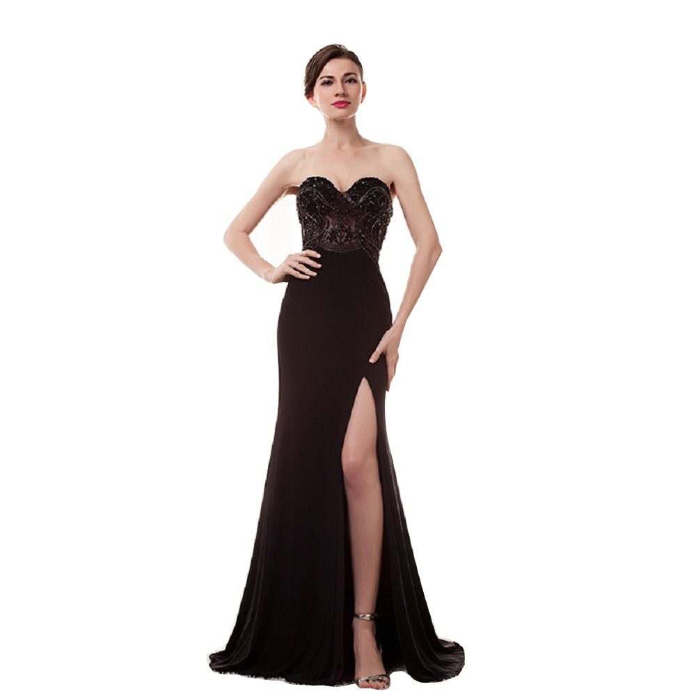 Black Wishopping Women's Long Mermaid Split Prom Dress Evening Gown WF02 Black