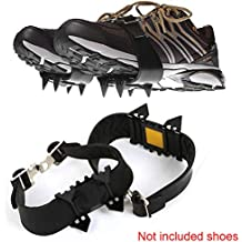 YOTHG Crampons, Ice Snow Grips,4 Teeth Non-Skid Ice Crampons Unisex Over Shoe/Boot Traction Cleat Rubber Spikes Anti-Slip Stretch Footwear for Outdoor Ski Ice Snow Hiking Climbing(Black)