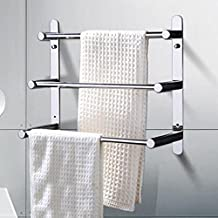 SUS 304 Stainless Steel Bathroom Lavatory Towel Rack Wall Mount Multi-layer Towel Bar,OneColor-30Cm
