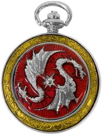 Celtic Pocket Watch Red Two Dragons Motif Roman Numerals with Chain Steampunk Cosplay PW-74