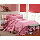 YiXinZhaiPei Aloe Brushed Cotton Bedding a Family of Four Active Printing Single or Double Quilt Bedding Set , queen