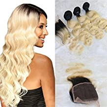 "HairDancing Brazilian Body Wave Hair With Closure Virgin Remy Hair 3 Bundles Ombre Color #1B to #613 Bleach Blonde Human Hair Weave Virgin Hair Extensions(18""20""22""+14""Frontal)"