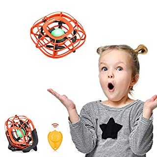 Mini Drone, Levitation UFO Drone, Hand Operated Quad Induction Flying Ball Toys,Throw'n Go Easy Remote Control 2 Speed, Mini Handheld USB Fan, Toys for Boys and Girls Toddlers, Tomzon A15 Orange