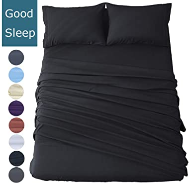 Shilucheng Bed Sheets Set Microfiber 1800 Thread Count Percale Super Soft and Comforterble 16 Inch Deep Pockets Wrinkle Fade and Hypoallergenic - 4 Piece(Full, Black)