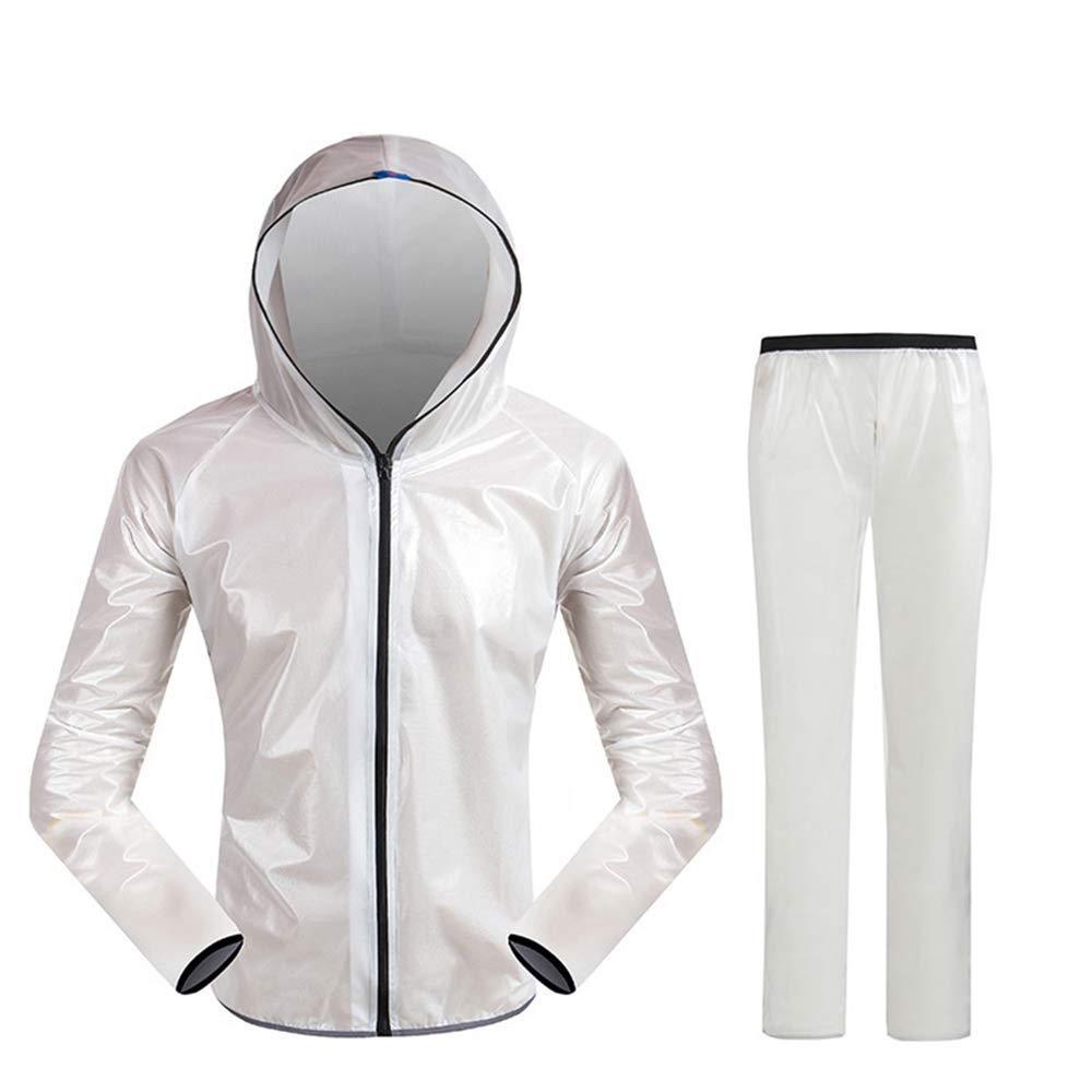 blanc XXXL Guyuan Veste imperméable pour vélo de Montagne Alpinisme Pantalon imperméable Fendu pour Hommes et Femmes Sports de Plein air (Couleur   noir, Taille   L)