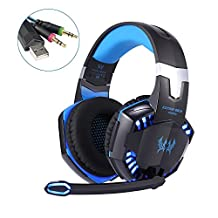Gaming Headset - YKS Professional Stereo Noise Isolation LED Gaming Headphone Earphones Earbuds with Mic for PC Computer Gamers (Blue)