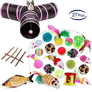 YBEL 27pcs cat Toys-Kitten Interactive Pet Toys, Chew Toys for Cat, Fake Mice, Wand Fun Ball for Kitten Kitty Rabbit Small Animal (Pink Tunnel 27pcs)