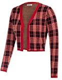GRACE KARIN Women Red Plaid Open Front Knit Bolero Shrug Jacket Size XL