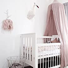 YESURPRISE Dome Cotton Mosquito Net Bed Canopy for Childrens Baby Kids Bedroom Princess Room Curtain 240cm Pink