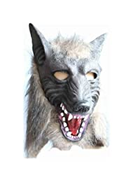 Wolf Head Mask with Novelty Latex Fur Mane Gag for Halloween Cosplay Costume Prop