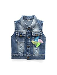 Peacolate Little Girl Single Breasted Cute Embroidered Denim Vest