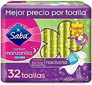 Saba Saba Confort Manzanilla, Toallas Femeninas Nocturnas Con Alas, Flujo Súper Abundante, 32 Piezas, Color, 3
