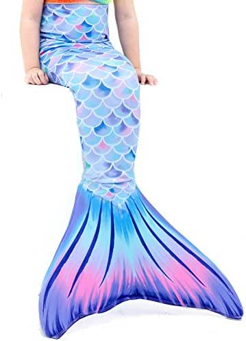 Play Tailor Mermaid Tail Swimmable Costume Swimsuit for Girls Swimming(No monofin)