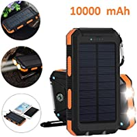 Solar Charger Power Bank, Hompie 10000mAh Waterproof Portable Solar Battery Charger Cell Phone Battery Charger Built in LED light with Compass,Dual USB Port,Solar Panel for iPhone,Samsung in Outdoors