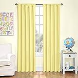 "Eclipse Kids Microfiber Blackout Window Curtain Panel, 63"", Yellow"