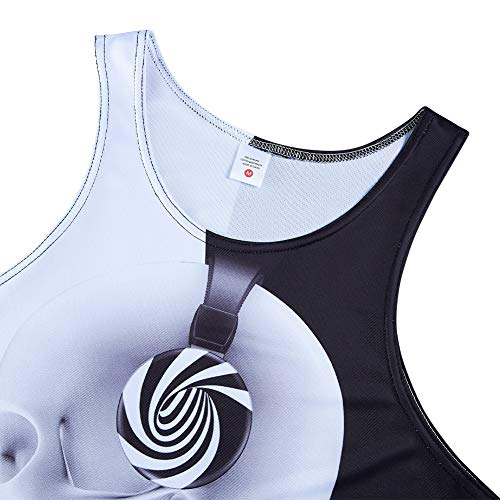 RAISEVERN Boy\'s Cool Tank Top Skull 3D Print Vest Yin Yang Gym Sleeveless Tee for Beach Black White L