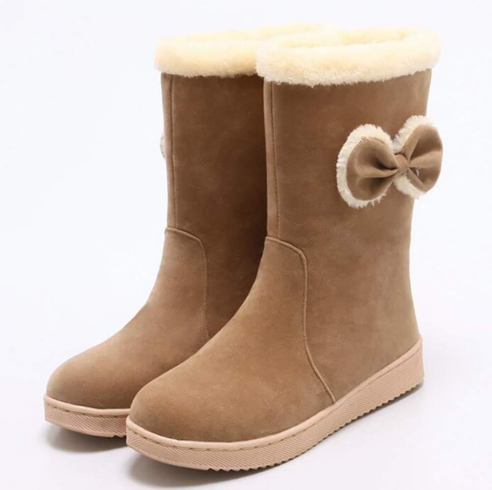 ZHRUI Winter Warm Schneestiefel Frauen Lässig Baumwollschuhe Hochwertige Matte Netter Bogen Frauen Stiefel schwarz 38 (Farbe   Braun Größe   34)