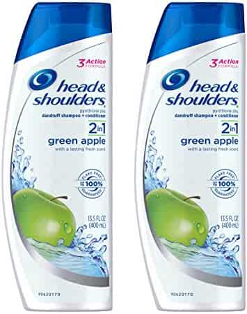 Head and Shoulders Green Apple 2-in-1 Anti-Dandruff Shampoo + Conditioner 13.5 Fl Oz (Pack of 2)