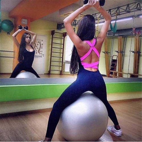 M YJTZGG-H Sportbekleidung Stück Sport Kleidung Rückenfreie Sport Anzug Workout Trainingsanzug Für Frauen Laufen Engen Tanz Sportbekleidung Gym Yoga Frauen Set
